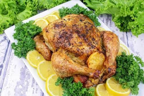 """Roast Chicken With Lemon """"This is a juicy, delicious, no fuss roasted..."""