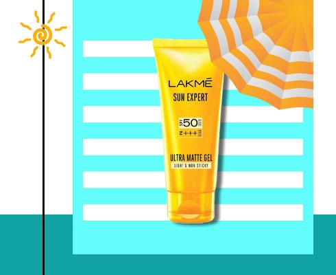 best sunscreen for acne prone skin- Lakme Sun Expert Ultra Matte Spf 50 Pa+++ Gel