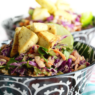 Chopped Salad with Spicy Peanut Sauce and Crispy Tofu