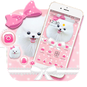 Pink Cute Puppy Dog Pet Bowknot Theme