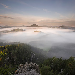 Czech Switzerland National Park in the fog by Petr Musil - Landscapes Sunsets & Sunrises ( park, fog, sunset, national, czech, switzerland, rock )