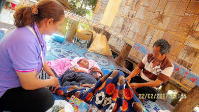 Photo: Jia Jan village:  Visit to HIV patient and her husband with Kanda