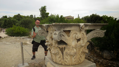 Photo: Steve trying to move a Corinthian capital with his mind.