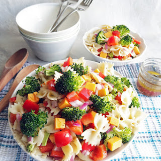 Broccoli Cheddar Pasta Salad with Tangy Italian Vinaigrette.