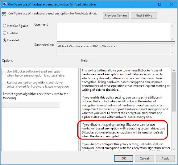 Switching to software encryption using BitLocker with a Group Policy.