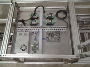 Photo: Electronics/Electrical tray PS, Voltage converter, R-Pi, Smoothie, External Motor Drivers (For NEMA 23's)