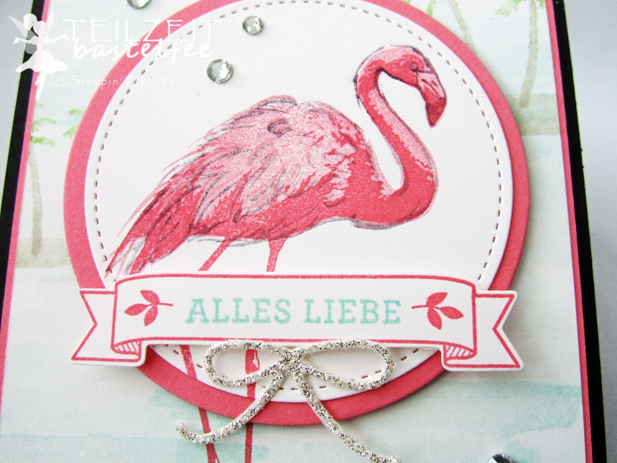 Stampin' Up! - IN{K}SPIRE_me Color Challenge #345, Fabulous Flamingo, Flamingo Fantasie, Am Ufer, Waterfront, Thinlits Mini Treat Box, Framelits Circle Collection, Geburtstag, Birthday, Blüten der Liebe, Bloomin Love
