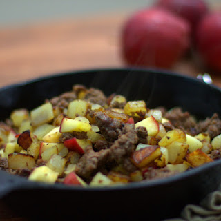 Venison Sausage Hash with Potatoes & Apples.