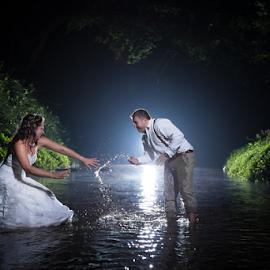 Wetlands by Lood Goosen (LWG Photo) - Wedding Bride & Groom ( water, wedding photography, night photos, wedding photographers, splash, wedding day, weddings, wedding, bride and groom, wedding photographer, bride groom )