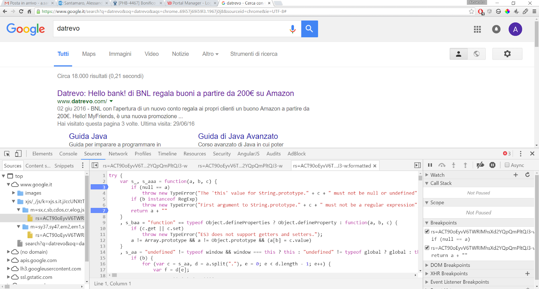 Google Developer Tools - Breakpoint
