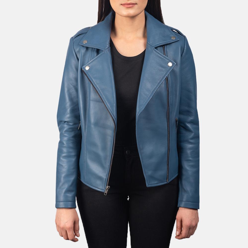 Flashback Blue Leather Biker Jacket