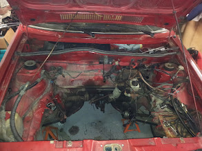 Photo: Engine and gearbox out - now 30 years of mess to clean up!