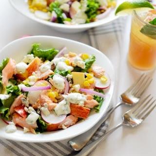 Easy Salmon Salad with Greek Yogurt Dill Dressing