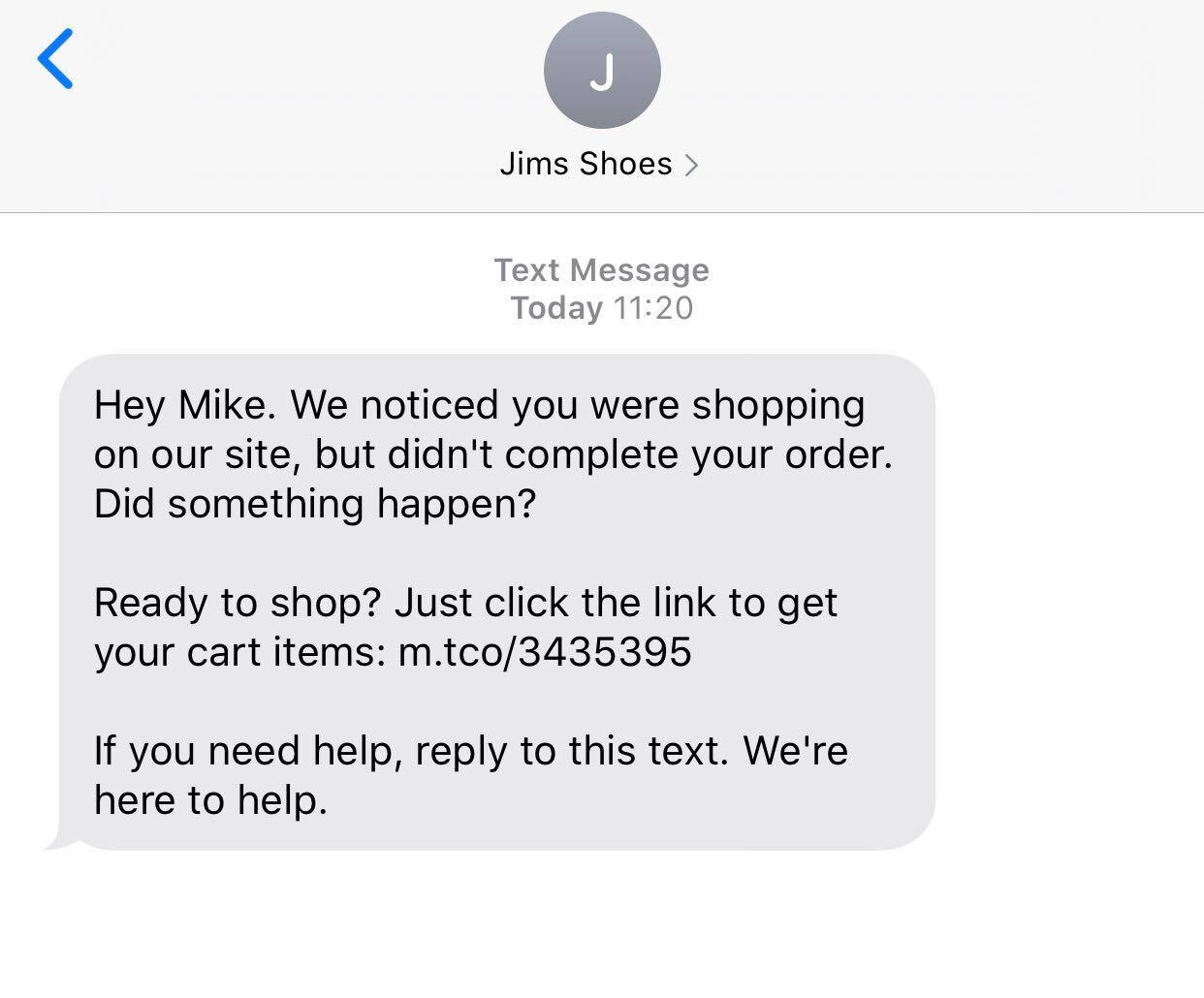 Jims shoes abandon cart sms