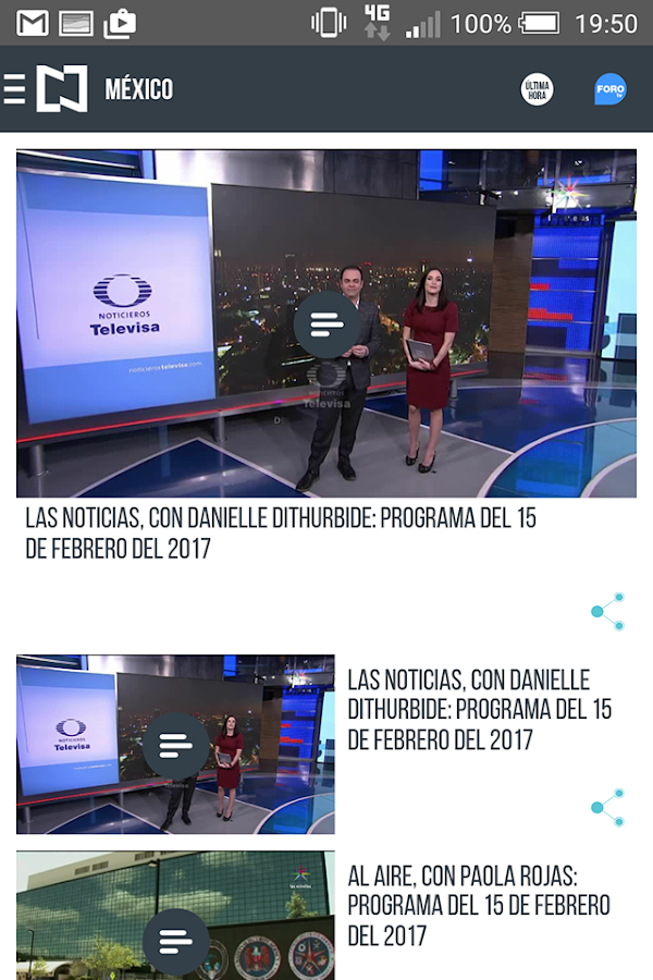 Noticieros Televisa: captura de pantalla