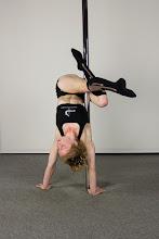 Photo: Vertical Pole Gymnastics - Back-Shoulder Handstand with Bow Leg Line