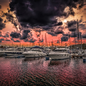 Strömstad, Sweden 007 by IP Maesstro - Transportation Boats ( sweden, ip maesstro, hdr, sunset, stromstad, sea, sunrise, storm, boat )