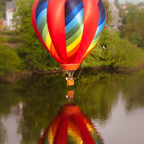 River Reflectioin by Chris Cavallo - Transportation Other ( hot air balloon, reflection, red, maine, reflections, balloon, rainbow, river,  )