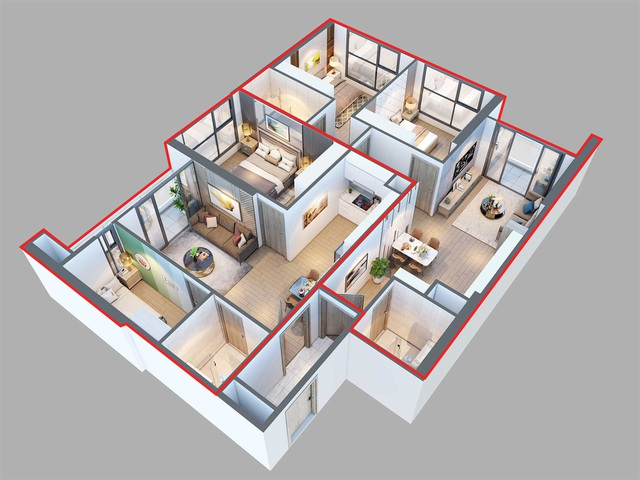 Căn hộ Văn phòng Hai chìa khóa với 3 phòng ngủ (Hình ảnh mang tính chất minh họa)