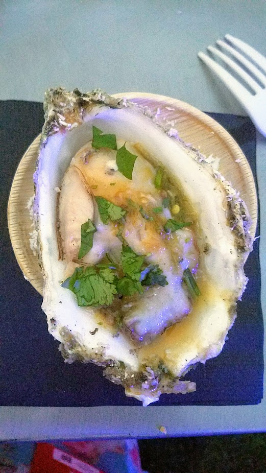 Review of Feast PDX Smoked 2017, One of my favorite bites of the nights was the Andy Ricker of Pok Pok Hoi Naang Rom Phao: Fresh Oysters Grilled Over Coconut with Naam Jim Seafood