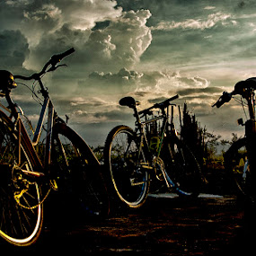 Between clouds and bicycle by Mas Arey - Transportation Bicycles ( clouds, sky, art, cloud, bicycle )
