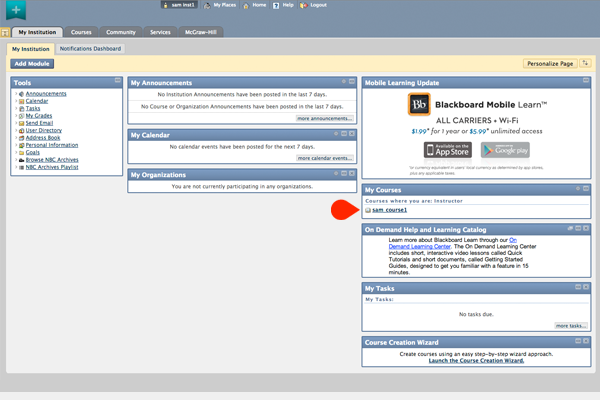 My institution page on CSUSB's blackboard site. An arrow points to the My Courses toolbox on the right.