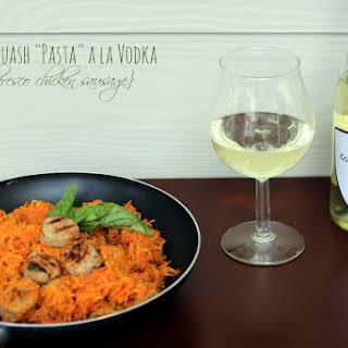 """Spaghetti Squash """"Pasta"""" a la Vodka with Al Fresco Chicken Sausage and Columbia Crest Wine (Giveaway)."""