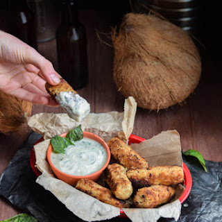 Faux Fish Sticks with Coconut Basil Crema (Vegan)