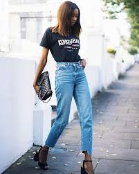 Image result for mom jeans with tucked in shirt