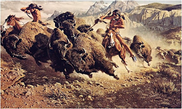 "Photo: Indians Hunting Buffaloe on Horseback Extracts from the journal of Osborne Russell - a trapper on the far-western American frontier 1834 to 1843. ""Snake Indians - The appellation by which this nation is distinguished is derived from the Crows but from what reason I have never been able to determine They call themselves Sho-sho-nies. Their country comprises all the regions drained by the head branches of Green and Bear rivers and the East and Southern head branches of Snake River The Buffaloe is already a stranger, altho so numerous 10 years ago, in that part of the country which is drained by the sources of the Colerado, Bear and Snake Rivers and occupied by the Snake and Bonnack Indians. The Snakes who live upon Buffaloe and live in large villages seldom use poison upon their arrows either in hunting or war - They are well armed with fusees (fusee - a gun - editor) and well supplied with horses they seldom stop more than 8 or 10 dys in one place which prevents the accumulation of filth which is so common among Indians that are Stationary. Their lodges are spacious neatly made of dressed Buffaloe skins, sewed to gether and set upon 11 or 13 long smooth poles to each lodge which are dragged along for that purpose."" more: http://www.thecommunitypaper.com/archive/2008/11_27/index.php"