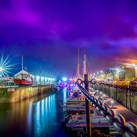 Night at the harbour by Lorraine Paterson - Transportation Boats ( harbour, chains, night, hdr, starburst, purple, boats, lossiemouth, water, scotland )