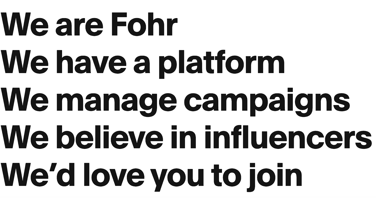 We Are Fohr - Influencer Marketing Platform