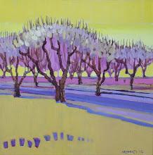 "Photo: Orchard Spirit, acrylic on canvas 12"" x 12"" by Nancy Roberts, copyright 2014."