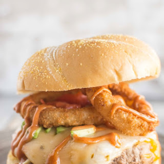 Turkey Burgers with Onion Rings and Campfire Sauce