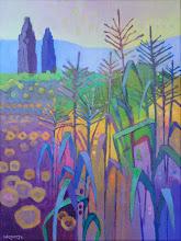 "Photo: ""Hagemann Ranch Corn"", acrylic on canvas 16"" x 12"", © Nancy Roberts. Private collection."