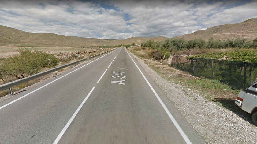 La carretera autonómica A-347 a su paso por Berja.