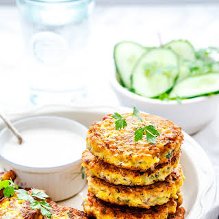 Corn Fritters with Cucumber Parsley Salad & Yoghurt Sauce with #Mazola.