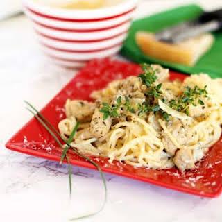 Garlic Basil Chicken Pasta with Alfredo Sauce.