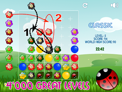 Flowers and Ladybug - match three puzzle game- screenshot thumbnail