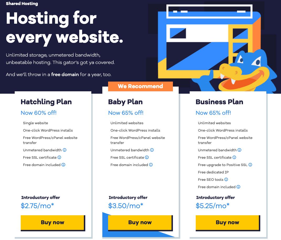 shared hosting for every website offering SSL certificate