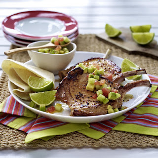 Spicy Pork Chops with Avocado Salad