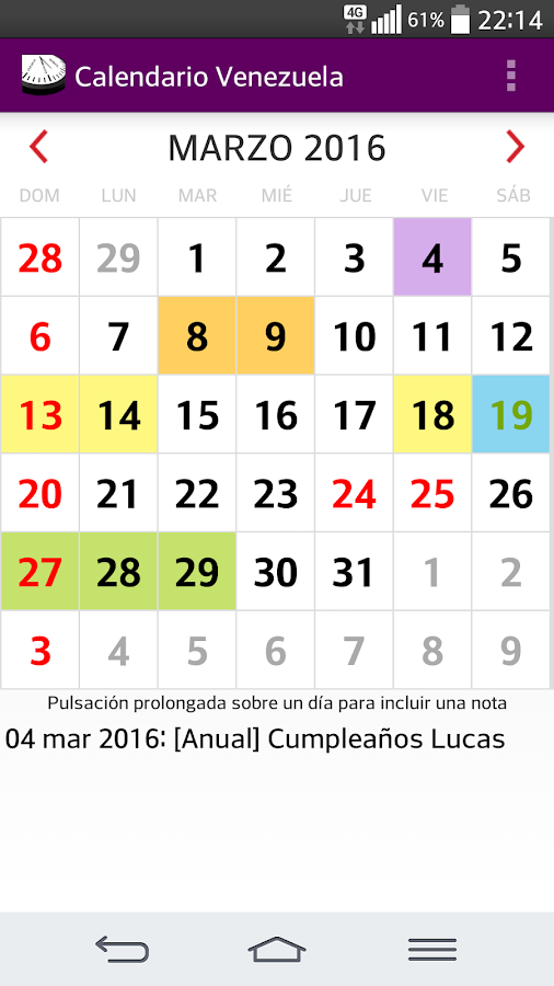 Calendario 2016 Venezuela – Apps para Android no Google Play