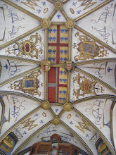 Photo: The vaulted chapel ceiling is painted with the coats of arms of both the Duke and his wife. Madeleine de Savoie.