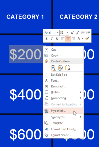 How to change a jeopardy powerpoint link