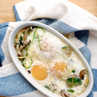 Baked Eggs with Brussels Sprouts and Mushrooms