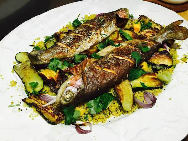 Trout With Courgette And Cauliflower Couscous Recipe