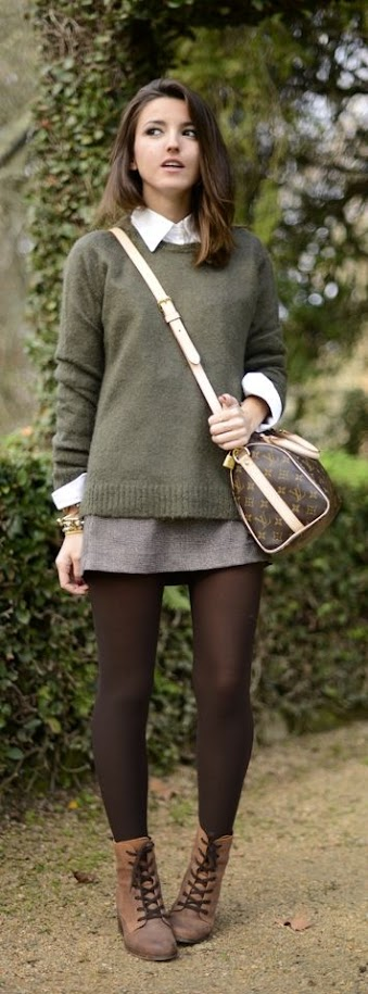 Pretty fall outfit with olive sweater and skirt for Warm Autumn women