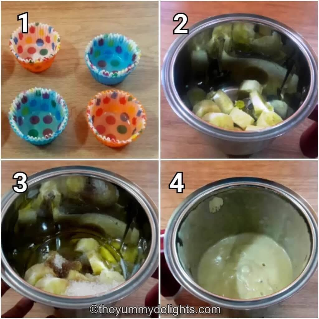 mash bananas, oil,sugar, milk, salt & vanilla essence in a blender jar.