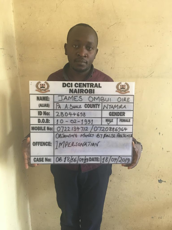 James Ombui Oire:Suspect who has been conning people using Aden Duale Facebook account.