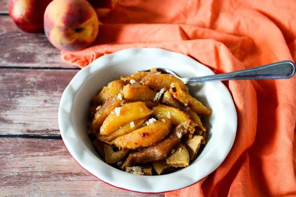 A Bowl Of Grilled Peaches.